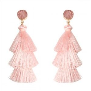 NWT. Pink druzy tassel drop earrings